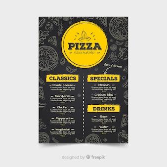 Modelo de menu de restaurante de pizza com estilo de lousa