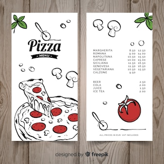 Modelo de menu de restaurante de pizza desenhada de mão
