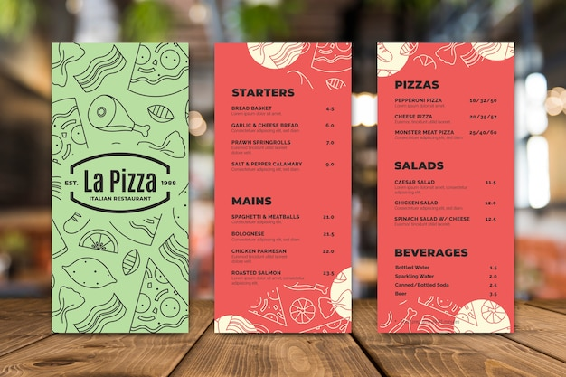 Modelo de menu de restaurante de pizza