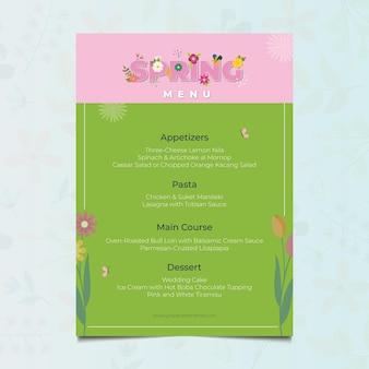Modelo de menu de restaurante de primavera de design plano floral