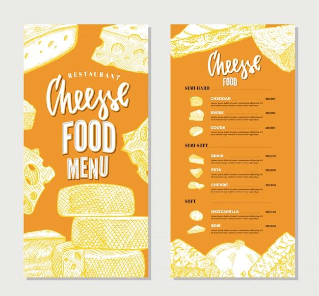 Modelo de menu de restaurante de queijo vintage