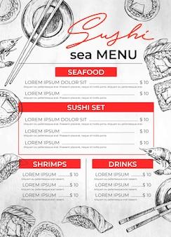 Modelo de menu de restaurante de sushi desenhado à mão