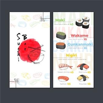 Modelo de menu de restaurante de sushi