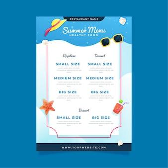 Modelo de menu de restaurante de verão