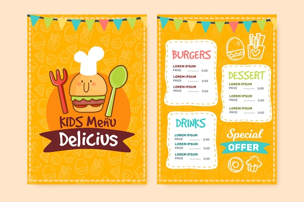 Modelo de menu de restaurante delicioso
