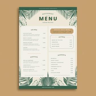 Modelo de menu de restaurante desenhado à mão