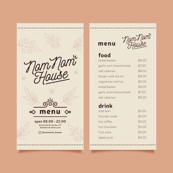 Modelo de menu de restaurante desenhado de mão