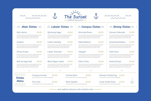 Modelo de menu de restaurante digital criativo em formato horizontal