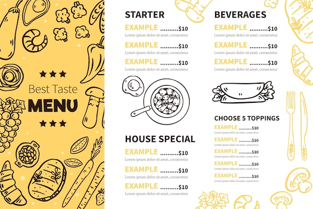 Modelo de menu de restaurante digital horizontal ilustrado