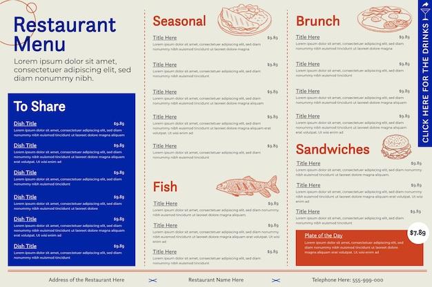 Modelo de menu de restaurante digital horizontal