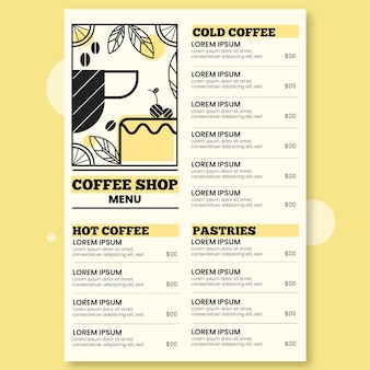 Modelo de menu de restaurante digital ilustrado