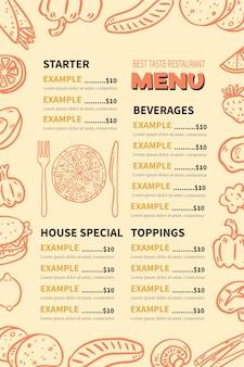Modelo de menu de restaurante digital vertical com ilustrações