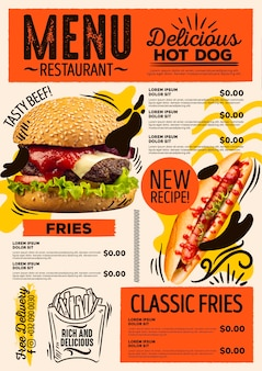 Modelo de menu de restaurante digital