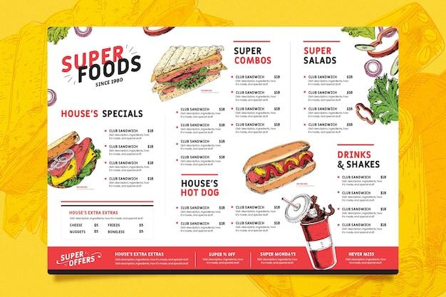 Modelo de menu de restaurante diversificado