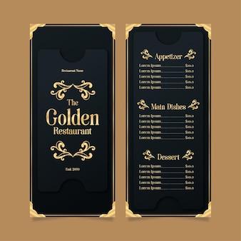 Modelo de menu de restaurante dourado com preto