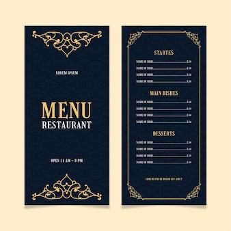 Modelo de menu de restaurante dourado