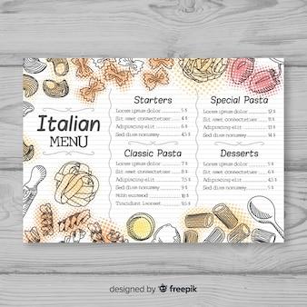 Modelo de menu de restaurante elegante desenhada de mão