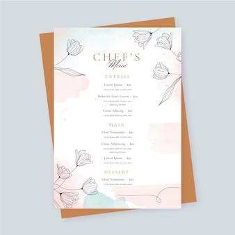 Modelo de menu de restaurante em aquarela floral