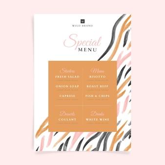 Modelo de menu de restaurante em aquarela pintado à mão
