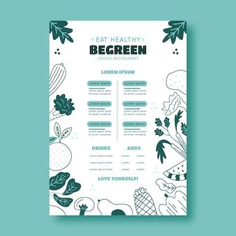 Modelo de menu de restaurante em azul