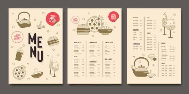 Modelo de menu de restaurante em design plano