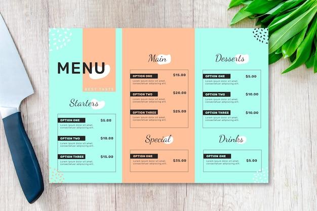 Modelo de menu de restaurante em duas cores