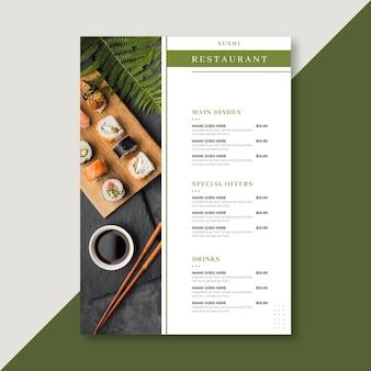 Modelo de menu de restaurante em formato vertical