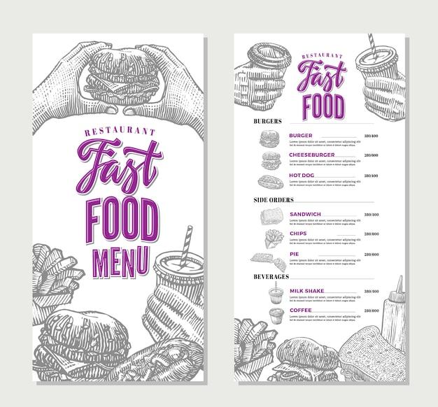 Modelo de menu de restaurante fast food vintage