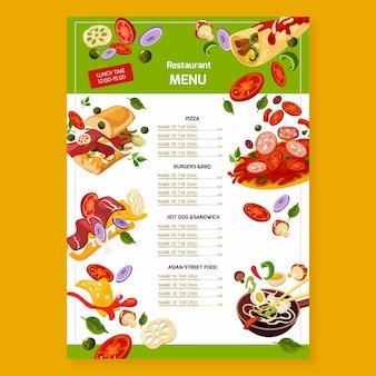 Modelo de menu de restaurante fast food