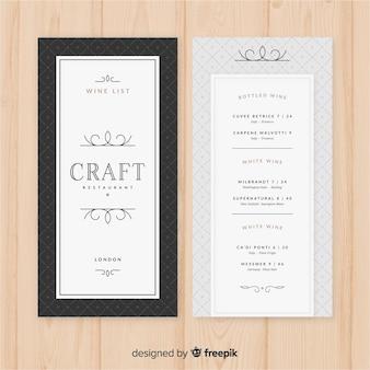 Modelo de menu de restaurante gourmet elegante