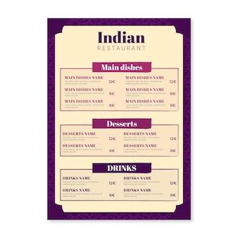 Modelo de menu de restaurante indiano tradicional de design plano