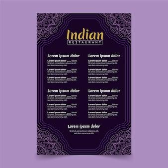 Modelo de menu de restaurante indiano tradicional desenhado à mão