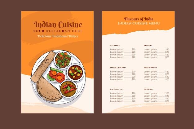 Modelo de menu de restaurante indiano tradicional em aquarela