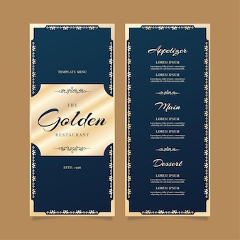 Modelo de menu de restaurante luxo dourado