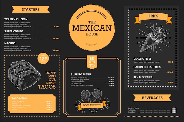 Modelo de menu de restaurante mexicano com comida de mão desenhada