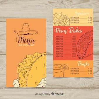 Modelo de menu de restaurante mexicano