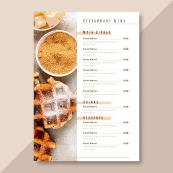 Modelo de menu de restaurante minimalista em formato vertical
