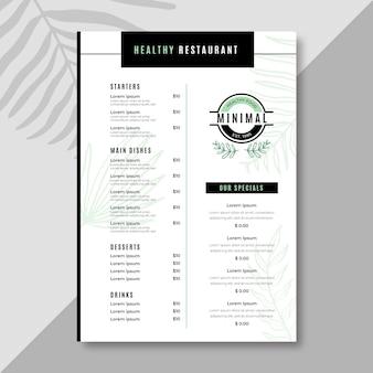 Modelo de menu de restaurante minimalista