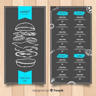 Modelo de menu de restaurante moderno com estilo de lousa