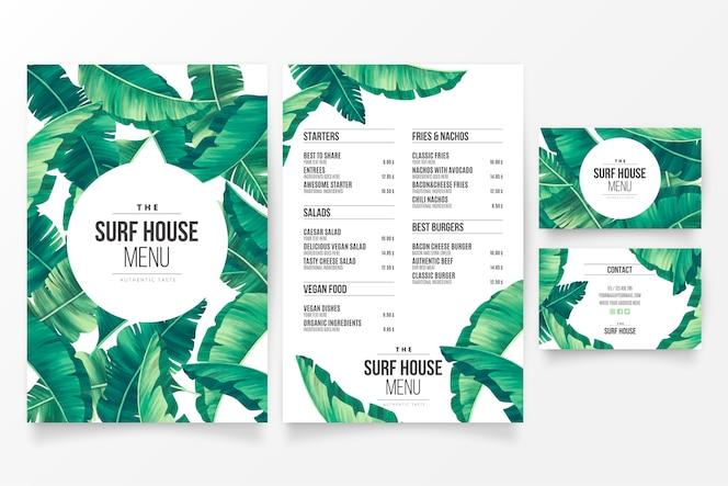 Modelo de menu de restaurante moderno com tema tropical floral