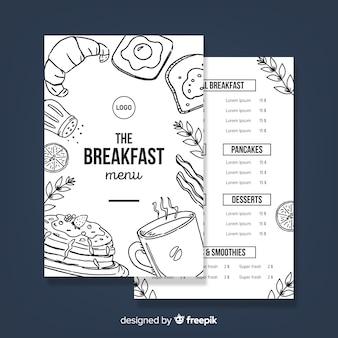 Modelo de menu de restaurante moderno de mão desenhada