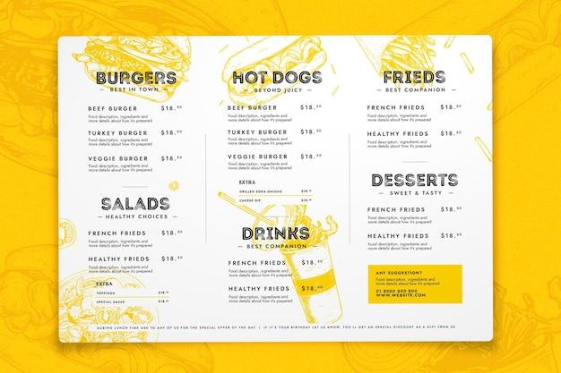 Modelo de menu de restaurante moderno