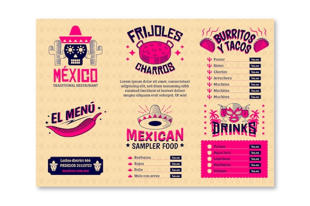 Modelo de menu de restaurante para comida mexicana