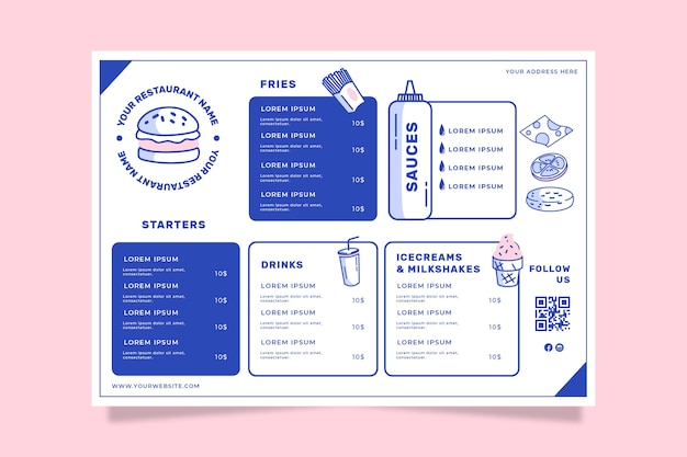 Modelo de menu de restaurante para fast food
