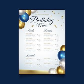 Modelo de menu de restaurante para festa de feliz aniversário