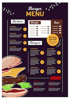 Modelo de menu de restaurante para plataforma digital em formato vertical