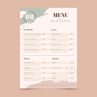 Modelo de menu de restaurante pintado à mão