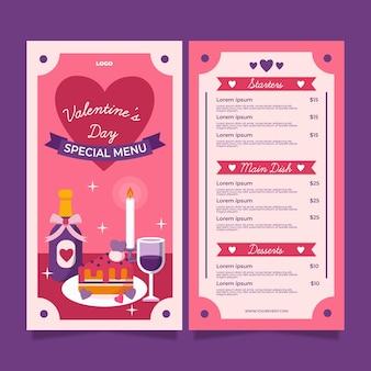 Modelo de menu de restaurante plano para o dia dos namorados com ilustrações