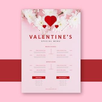 Modelo de menu de restaurante plano para o dia dos namorados