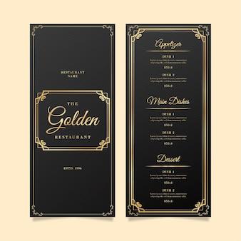 Modelo de menu de restaurante preto e dourado